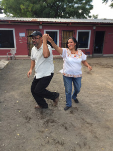 Ramon and Ada dancing outside the Acahualinca Library during the 2014 Friends Witness Tour